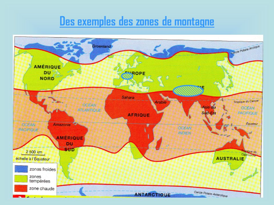 Des exemples des zones de montagne