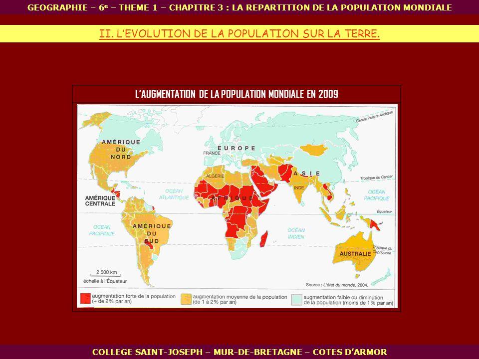 L'AUGMENTATION DE LA POPULATION MONDIALE EN 2009