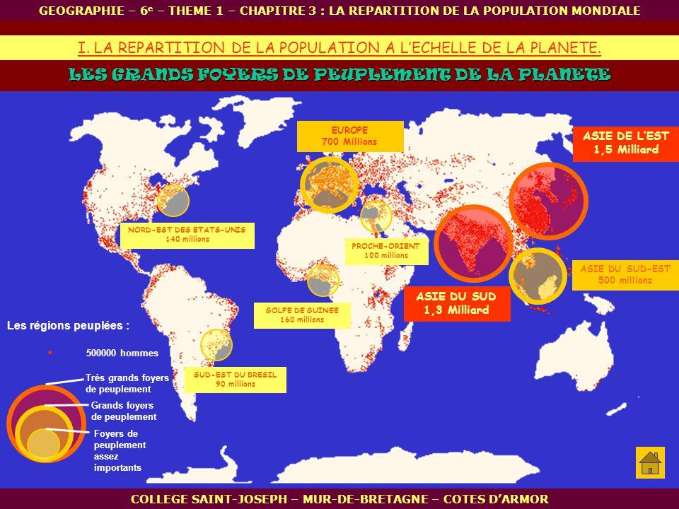 . I. LA REPARTITION DE LA POPULATION A L'ECHELLE DE LA PLANETE.