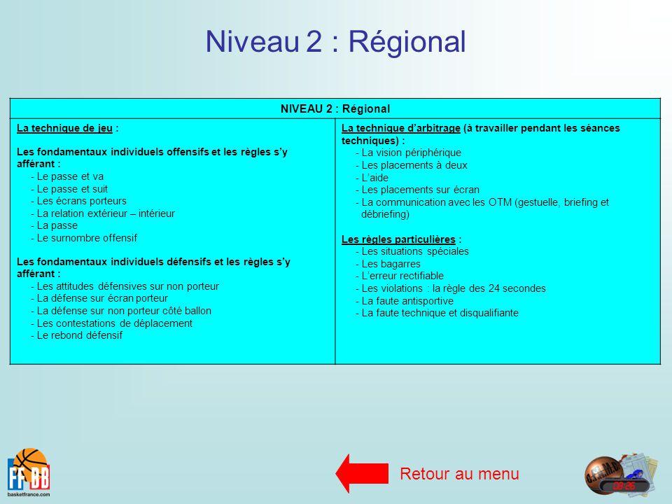 Niveau 2 : Régional Retour au menu NIVEAU 2 : Régional