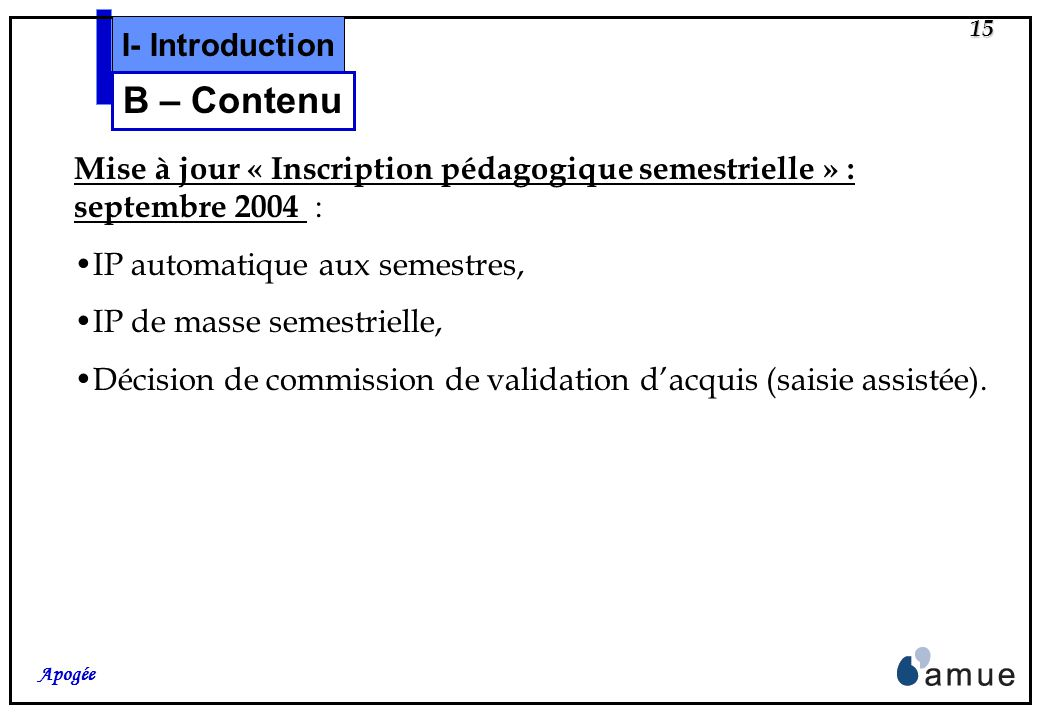 B – Contenu I- Introduction