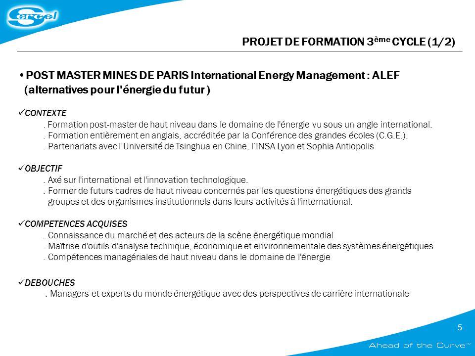 PROJET DE FORMATION 3ème CYCLE (1/2)