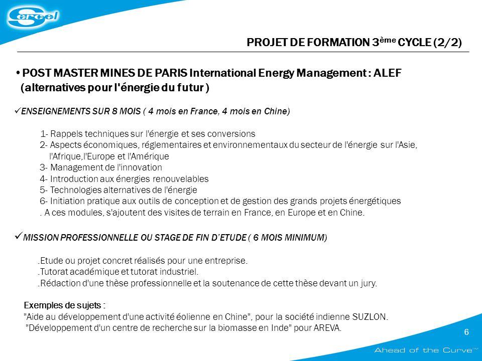 PROJET DE FORMATION 3ème CYCLE (2/2)