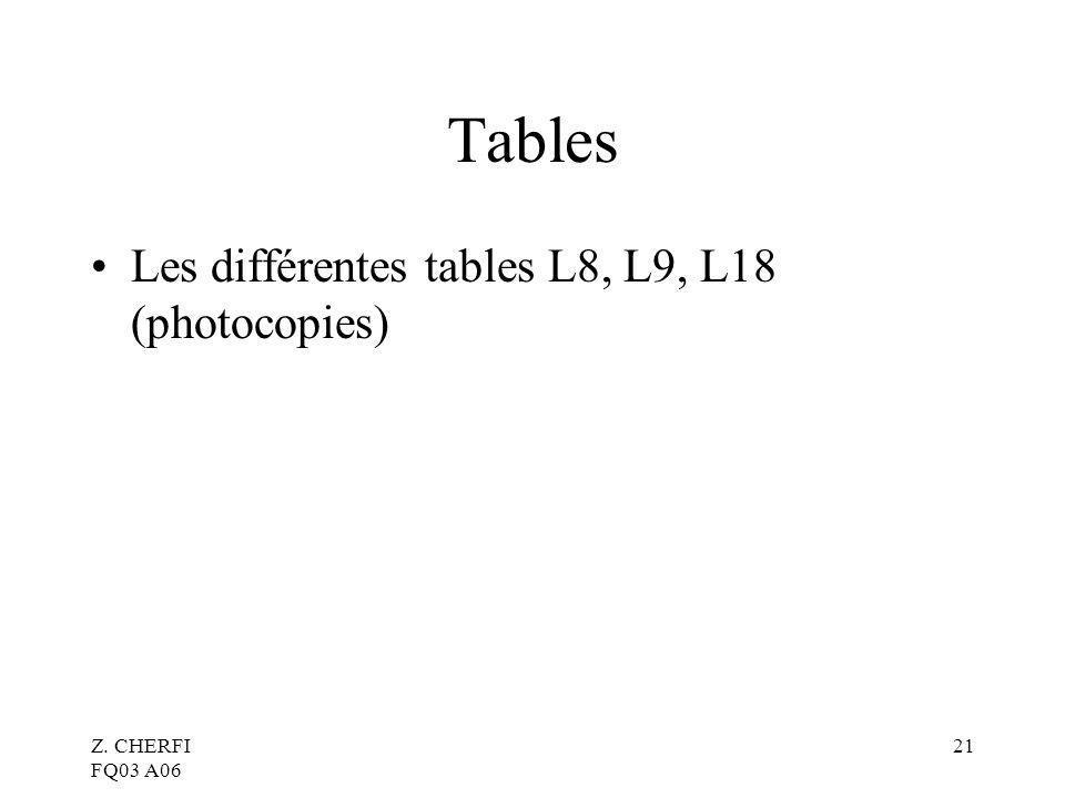 Tables Les différentes tables L8, L9, L18 (photocopies)