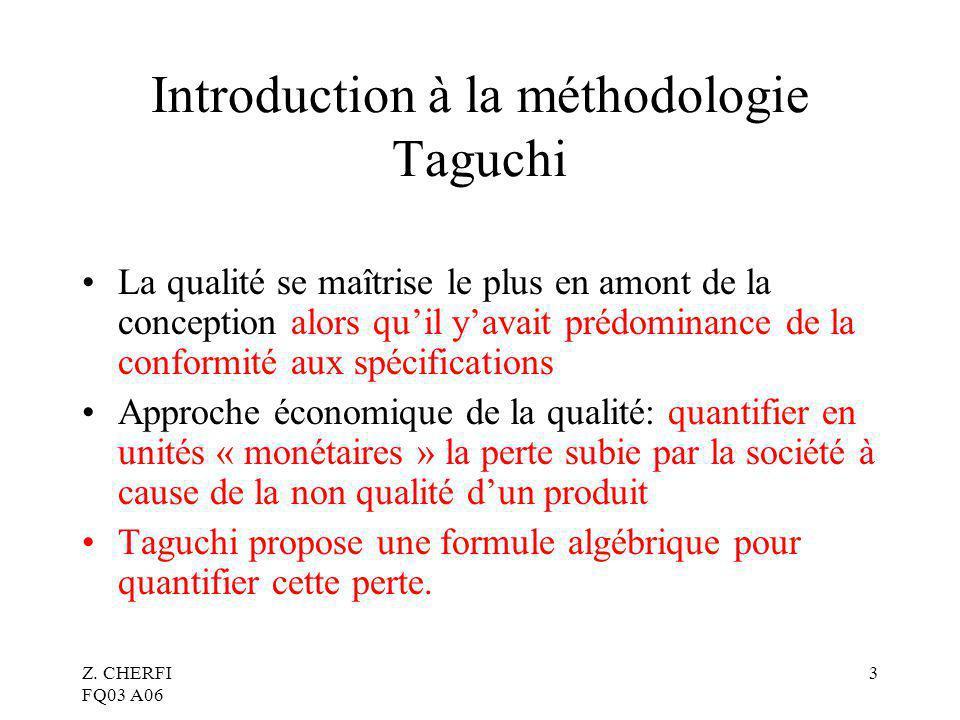 Introduction à la méthodologie Taguchi