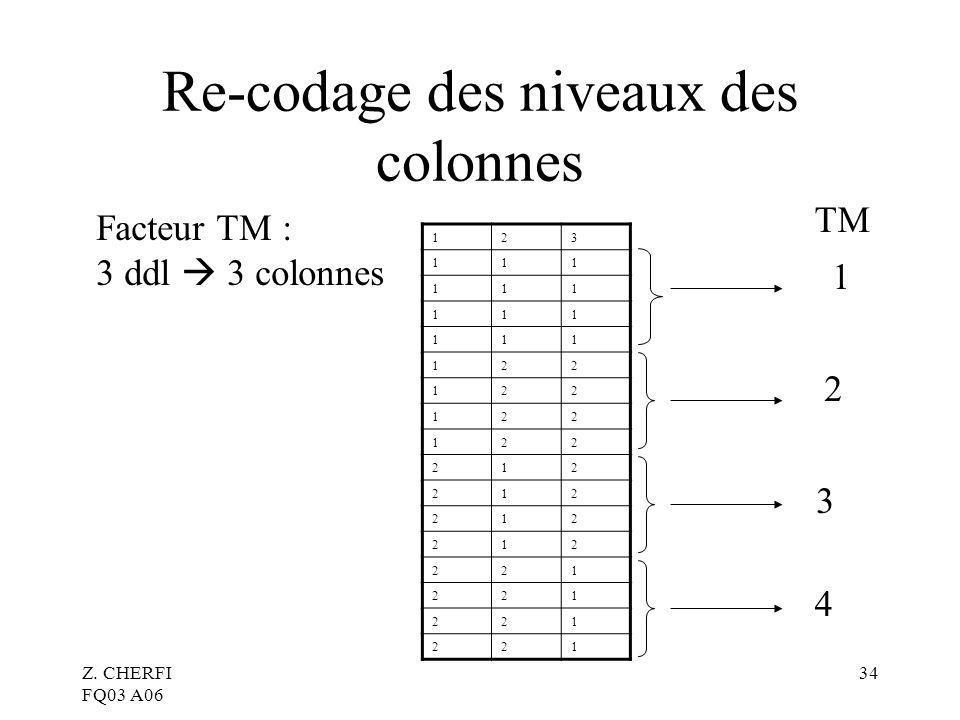 Re-codage des niveaux des colonnes