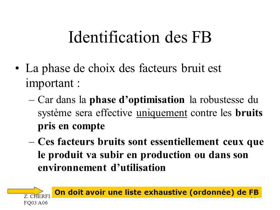 Identification des FB La phase de choix des facteurs bruit est important :