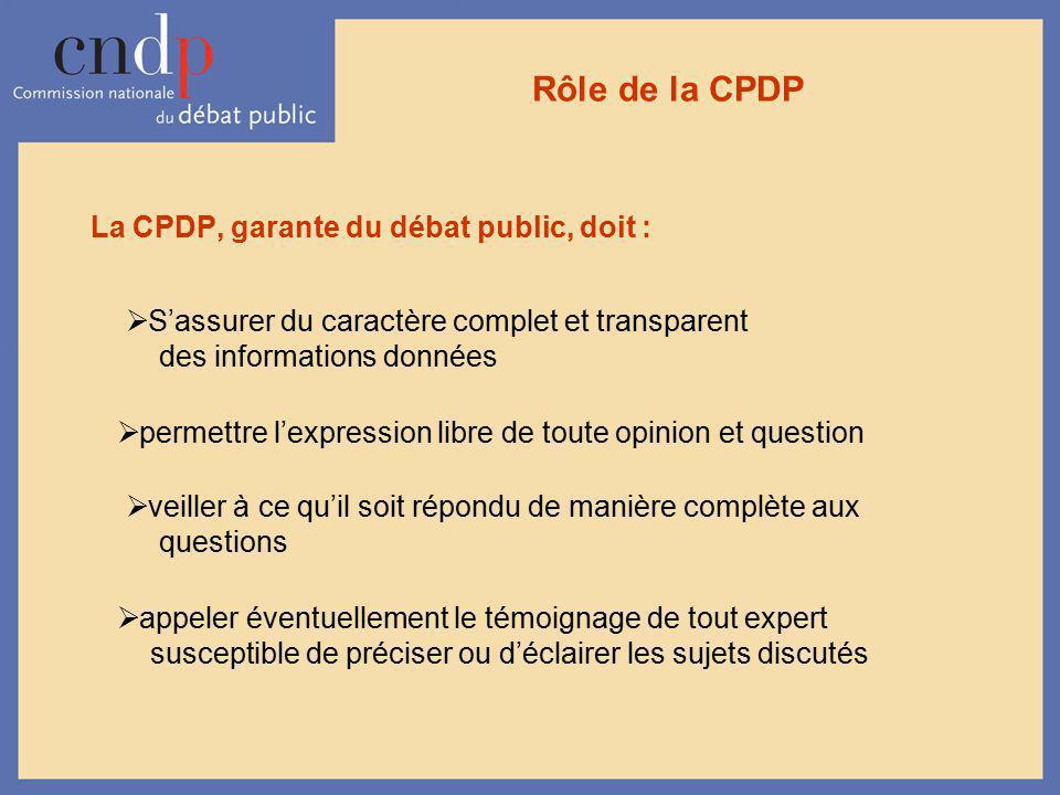Rôle de la CPDP La CPDP, garante du débat public, doit :