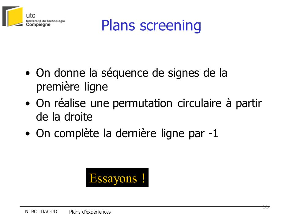 Plans screening Essayons !