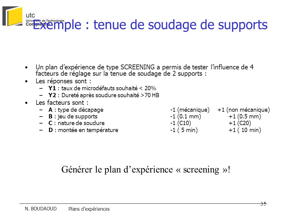 Exemple : tenue de soudage de supports