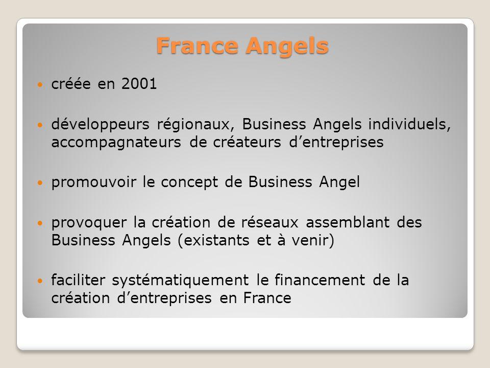 France Angels créée en 2001. développeurs régionaux, Business Angels individuels, accompagnateurs de créateurs d'entreprises.