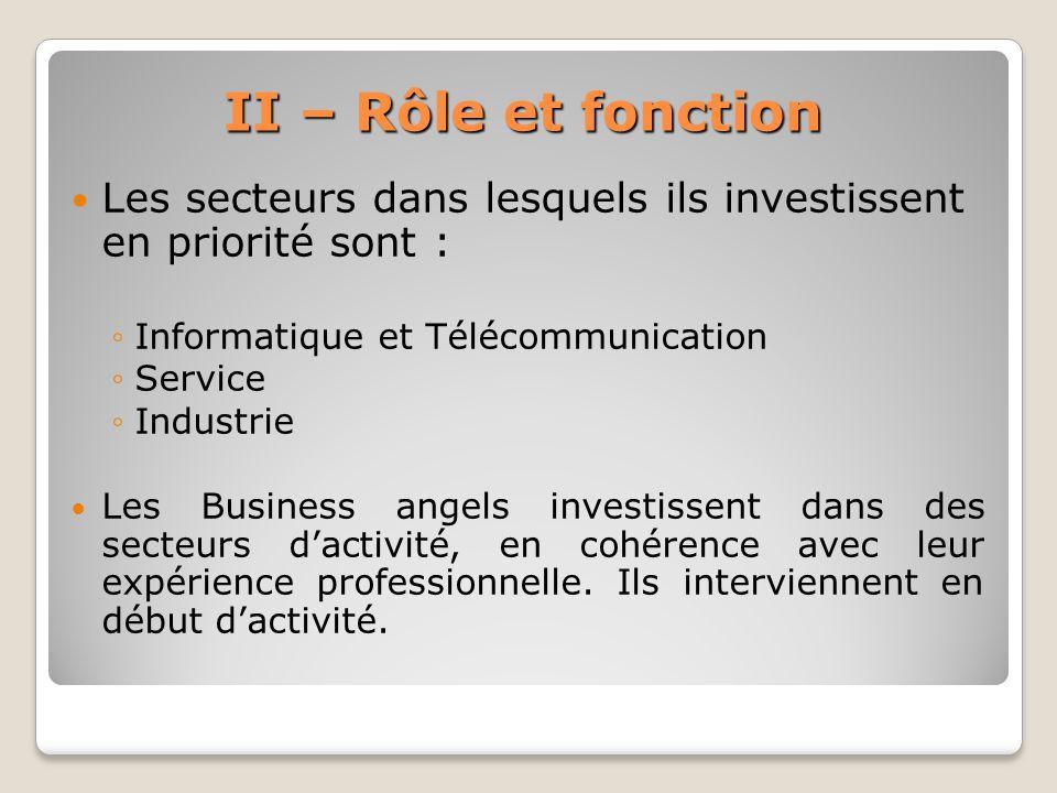 II – Rôle et fonction Les secteurs dans lesquels ils investissent en priorité sont : Informatique et Télécommunication.