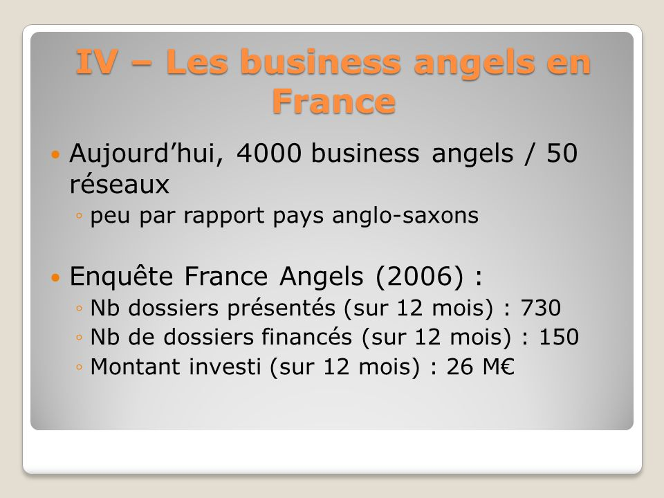 IV – Les business angels en France