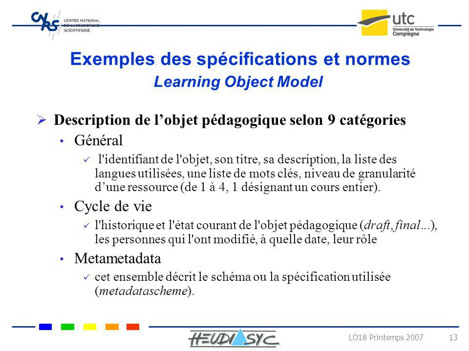 Exemples des spécifications et normes Learning Object Model