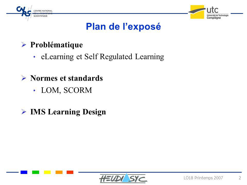 Plan de l'exposé Problématique eLearning et Self Regulated Learning