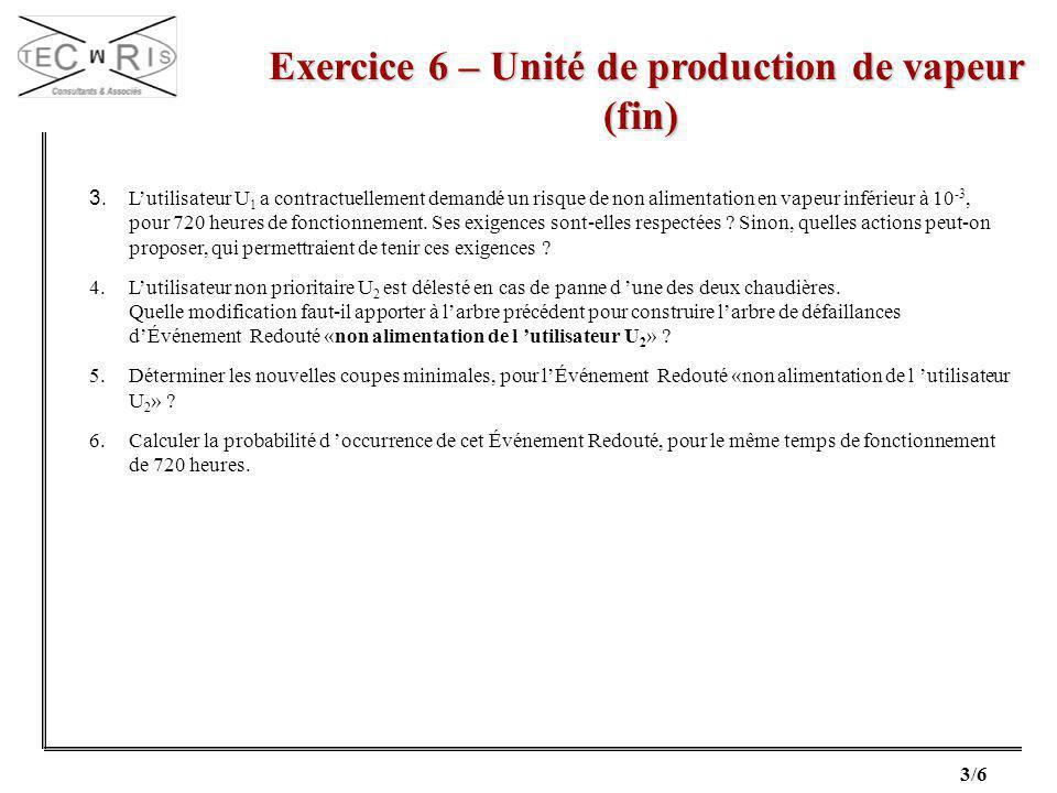 Exercice 6 – Unité de production de vapeur (fin)