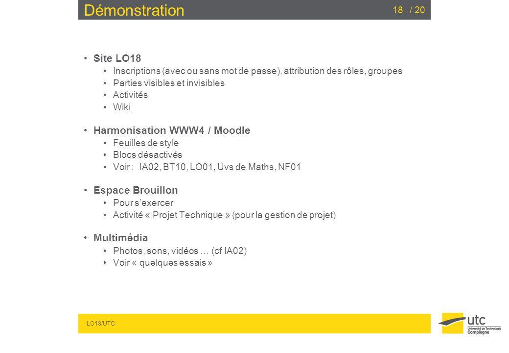 Démonstration Site LO18 Harmonisation WWW4 / Moodle Espace Brouillon