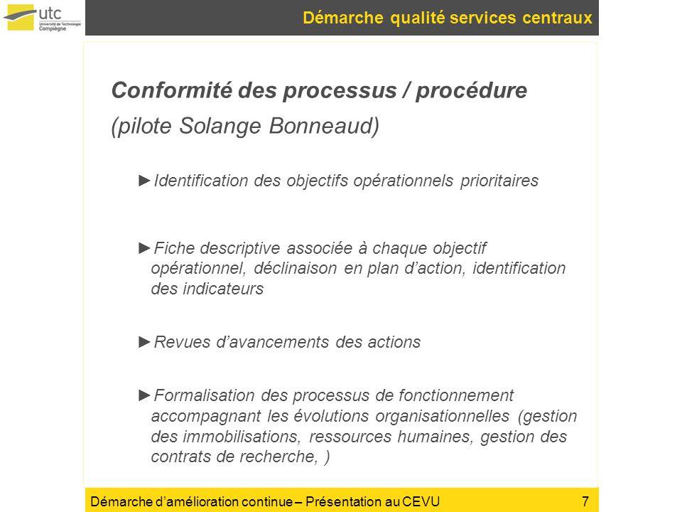 Démarche qualité services centraux