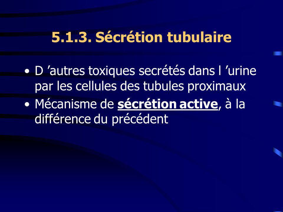5.1.3. Sécrétion tubulaire D 'autres toxiques secrétés dans l 'urine par les cellules des tubules proximaux.
