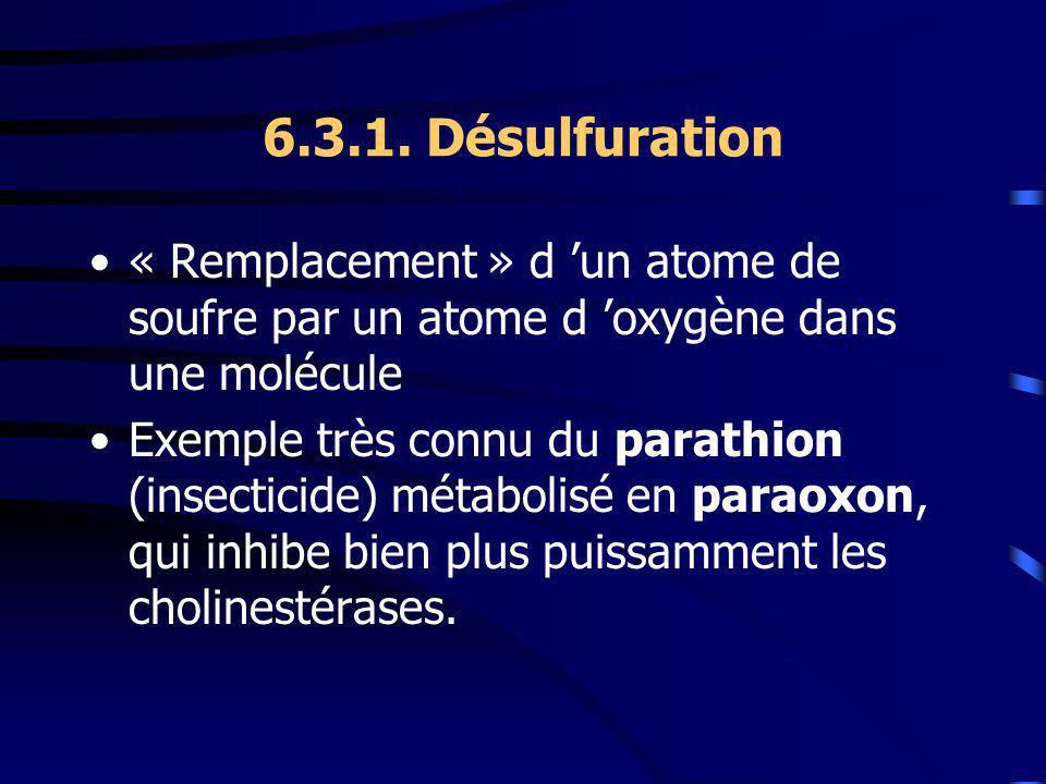 6.3.1. Désulfuration « Remplacement » d 'un atome de soufre par un atome d 'oxygène dans une molécule.