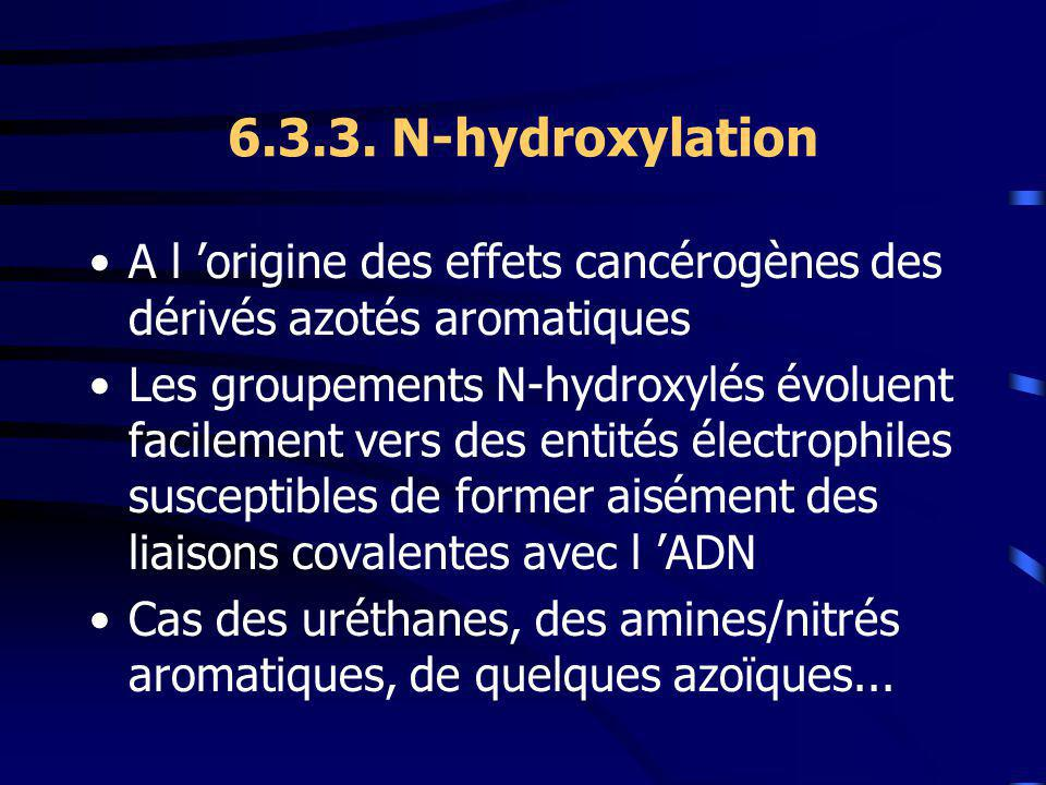 6.3.3. N-hydroxylation A l 'origine des effets cancérogènes des dérivés azotés aromatiques.