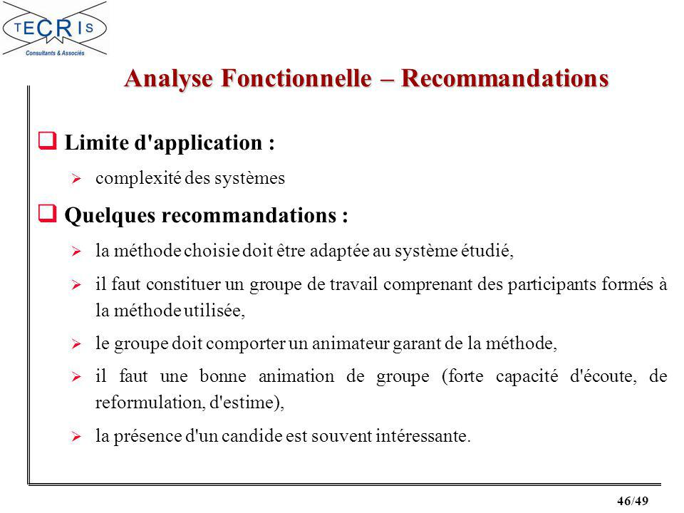 Analyse Fonctionnelle – Recommandations
