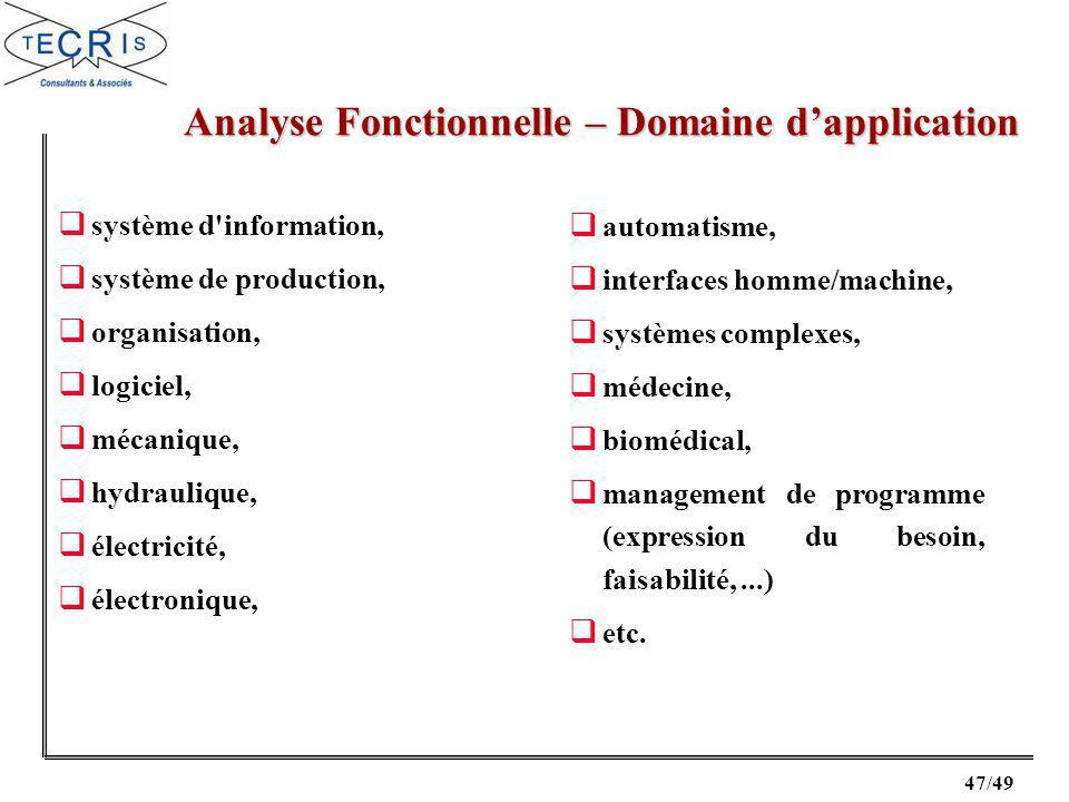 Analyse Fonctionnelle – Domaine d'application