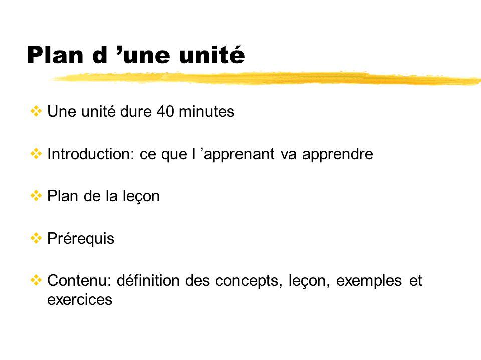 Plan d 'une unité Une unité dure 40 minutes