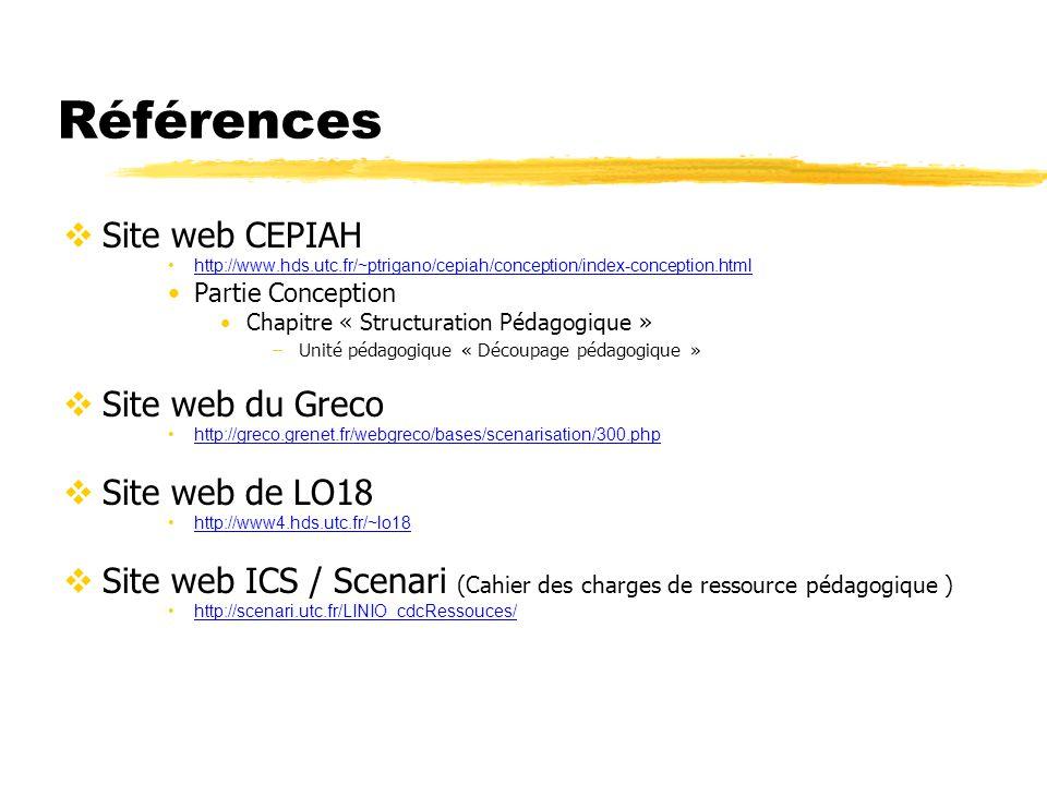 Références Site web CEPIAH Site web du Greco Site web de LO18