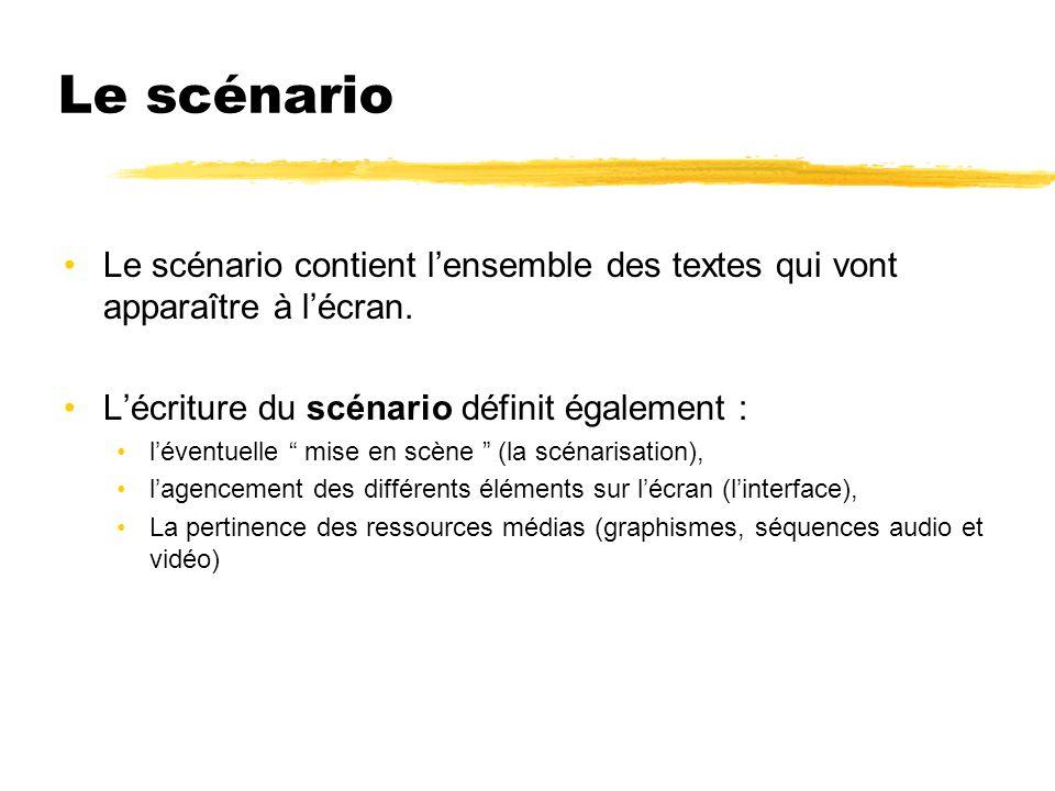 Le scénario Le scénario contient l'ensemble des textes qui vont apparaître à l'écran. L'écriture du scénario définit également :