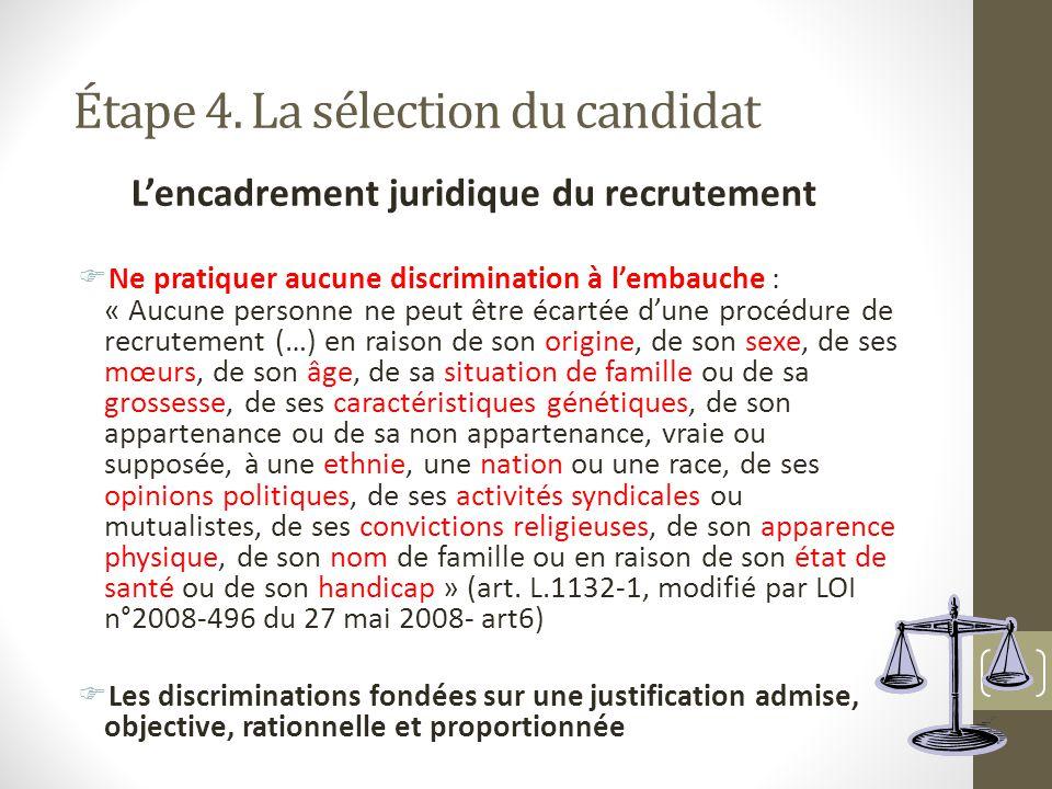 Étape 4. La sélection du candidat