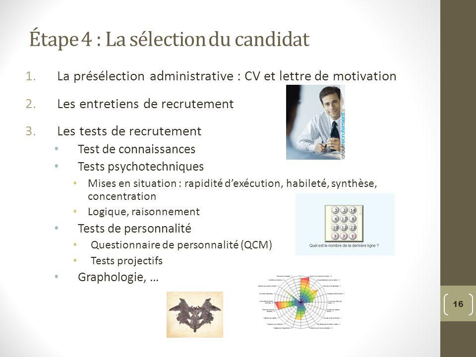 Étape 4 : La sélection du candidat