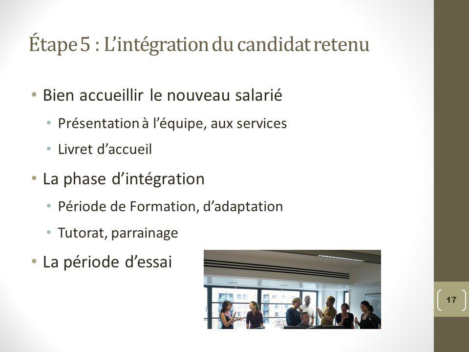 Étape 5 : L'intégration du candidat retenu