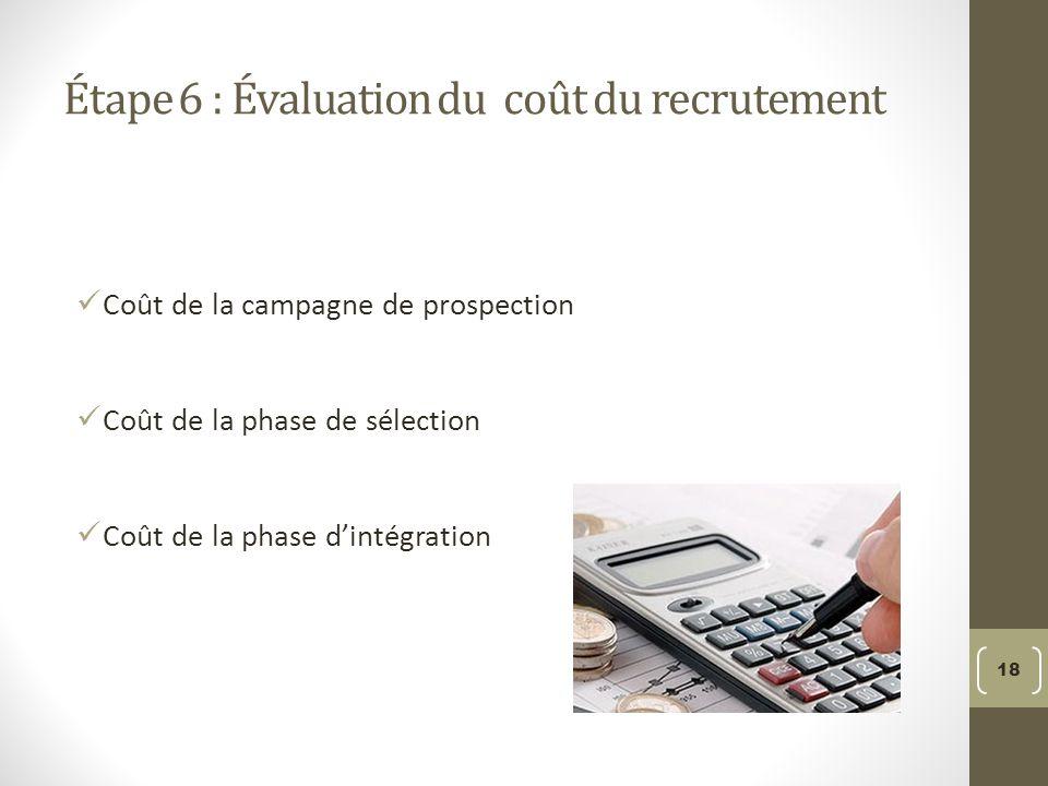 Étape 6 : Évaluation du coût du recrutement