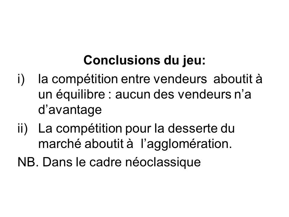 Conclusions du jeu: la compétition entre vendeurs aboutit à un équilibre : aucun des vendeurs n'a d'avantage.