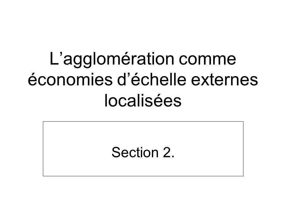 L'agglomération comme économies d'échelle externes localisées