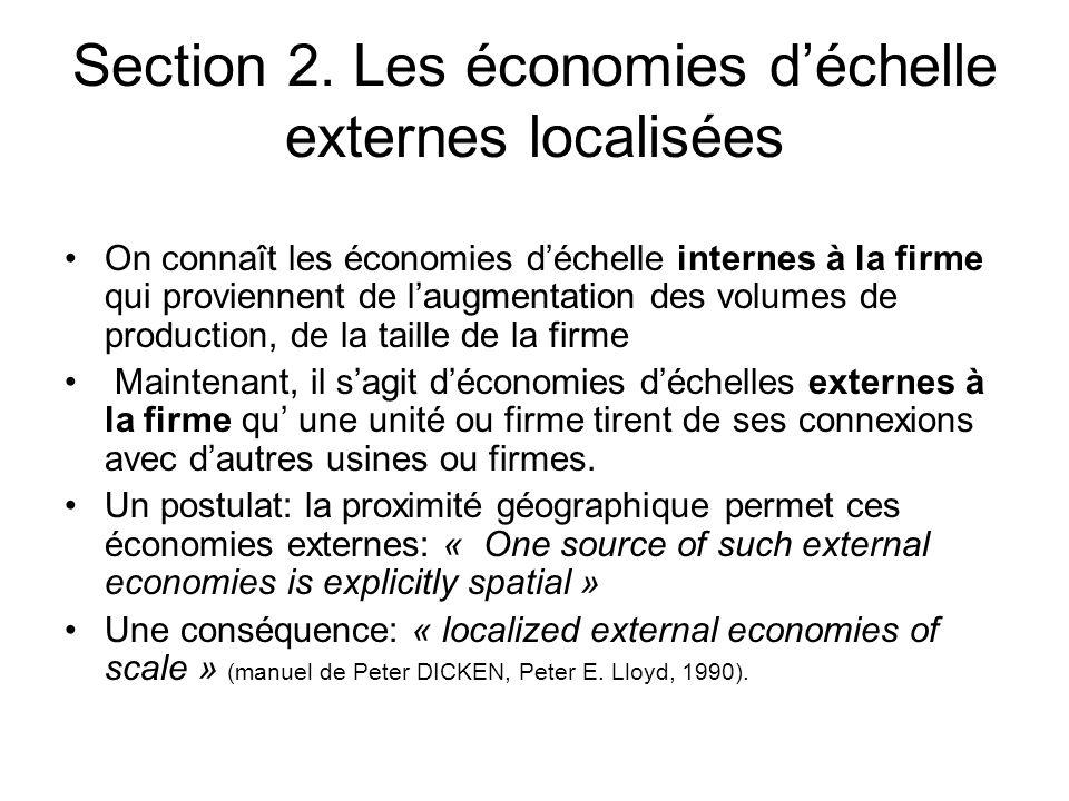 Section 2. Les économies d'échelle externes localisées