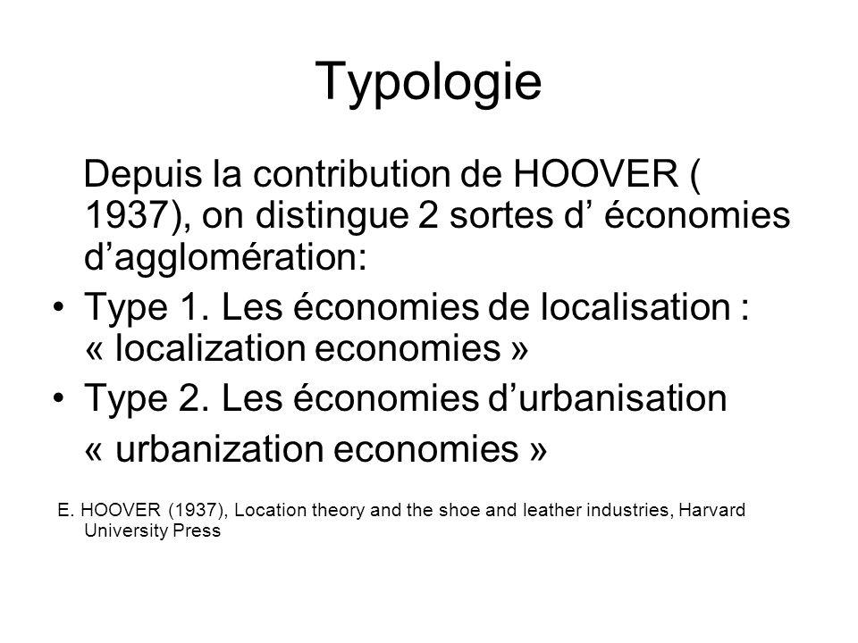 Typologie Depuis la contribution de HOOVER ( 1937), on distingue 2 sortes d' économies d'agglomération: