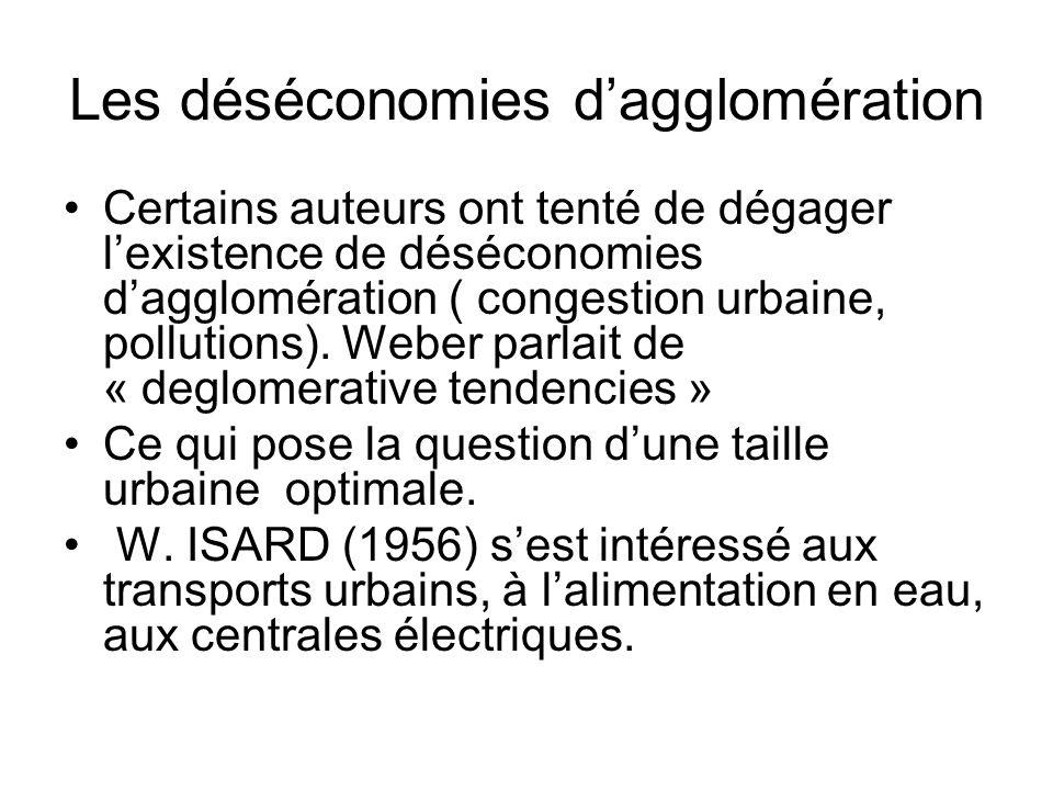 Les déséconomies d'agglomération