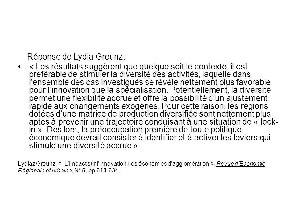Réponse de Lydia Greunz: