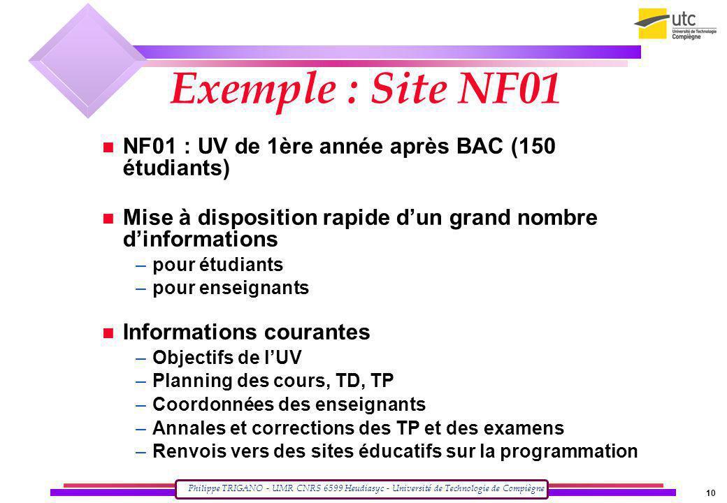 Exemple : Site NF01 NF01 : UV de 1ère année après BAC (150 étudiants)