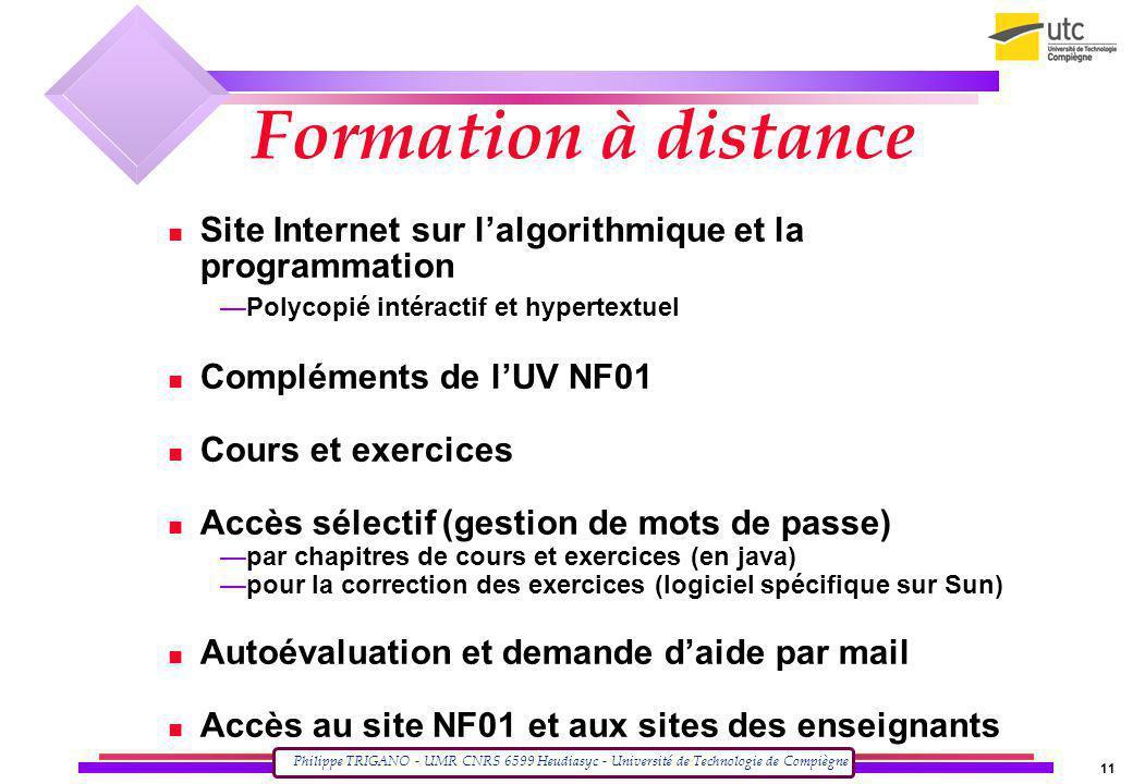 Formation à distance Site Internet sur l'algorithmique et la programmation. Polycopié intéractif et hypertextuel.