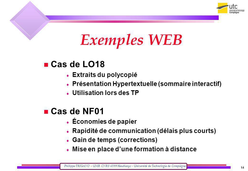 Exemples WEB Cas de LO18 Cas de NF01 Extraits du polycopié
