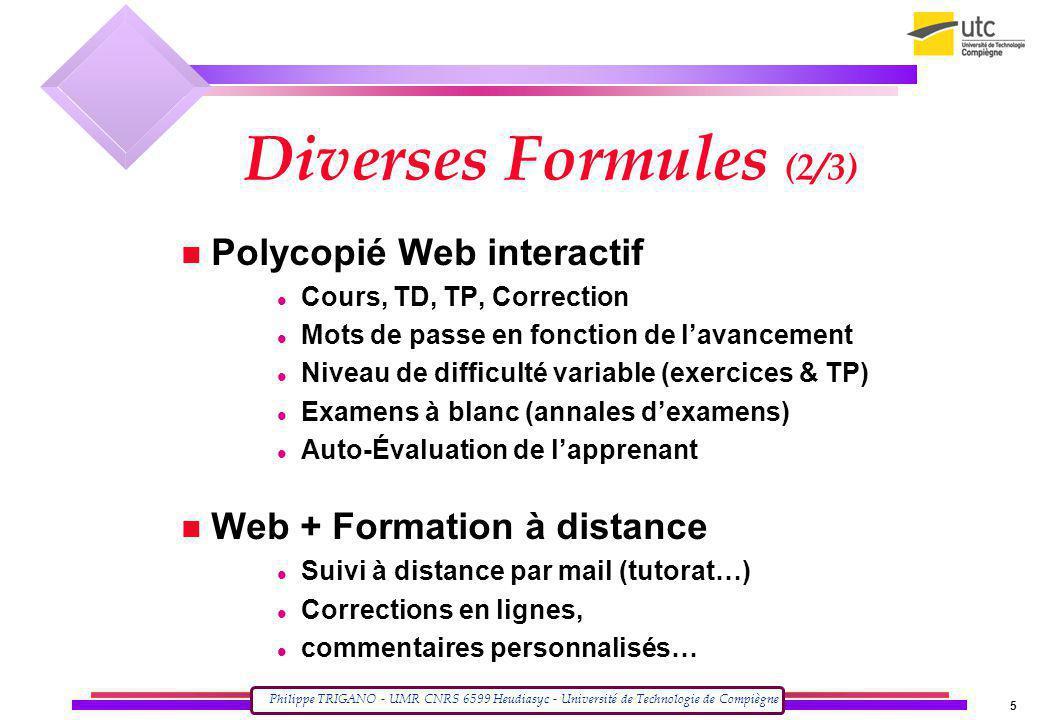Diverses Formules (2/3) Polycopié Web interactif
