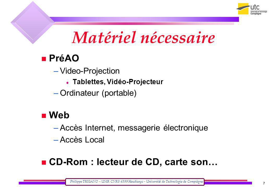 Matériel nécessaire PréAO Web CD-Rom : lecteur de CD, carte son…
