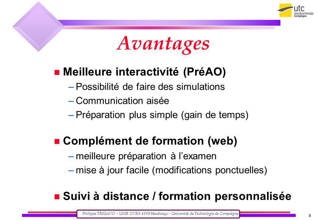 Avantages Meilleure interactivité (PréAO)