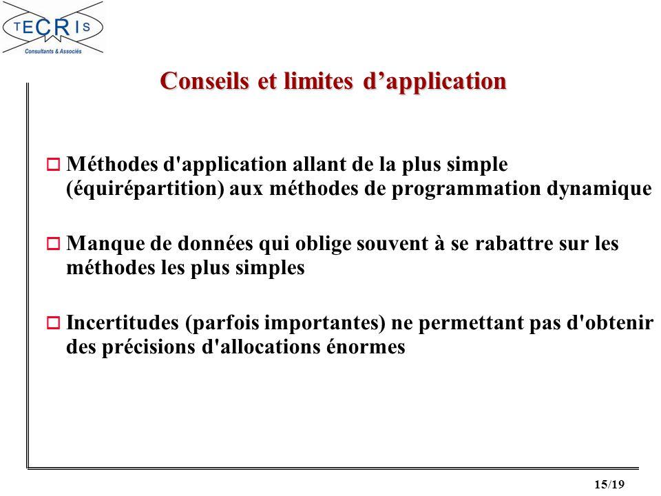 Conseils et limites d'application