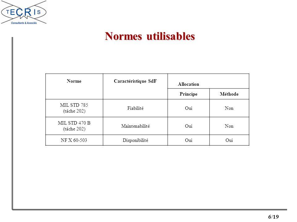 Normes utilisables Norme Caractéristique SdF Allocation Principe