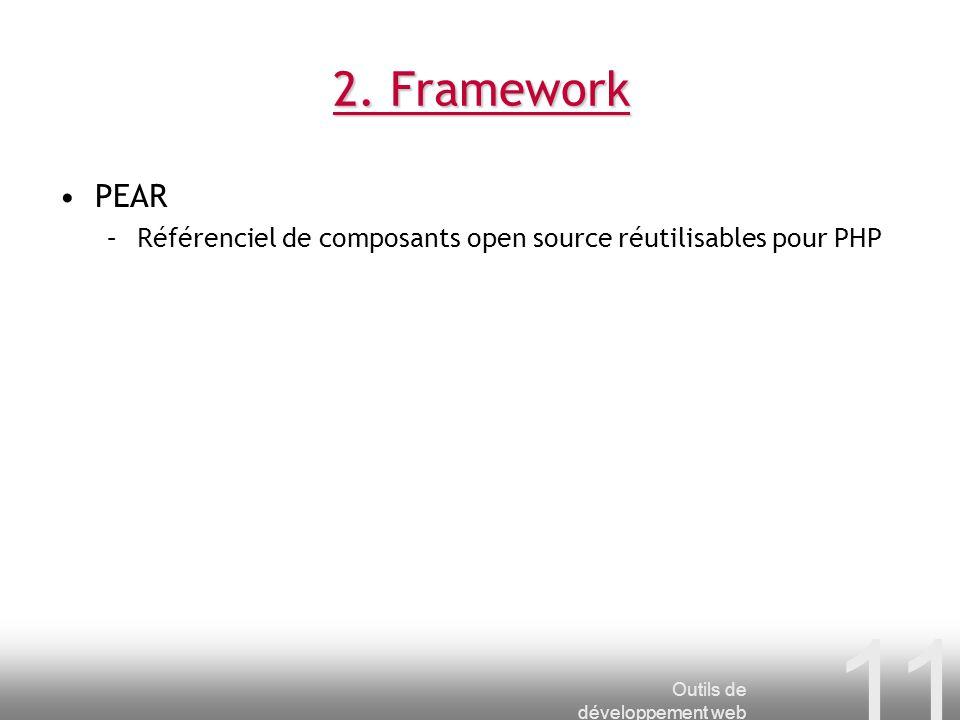 2. Framework PEAR. Référenciel de composants open source réutilisables pour PHP.