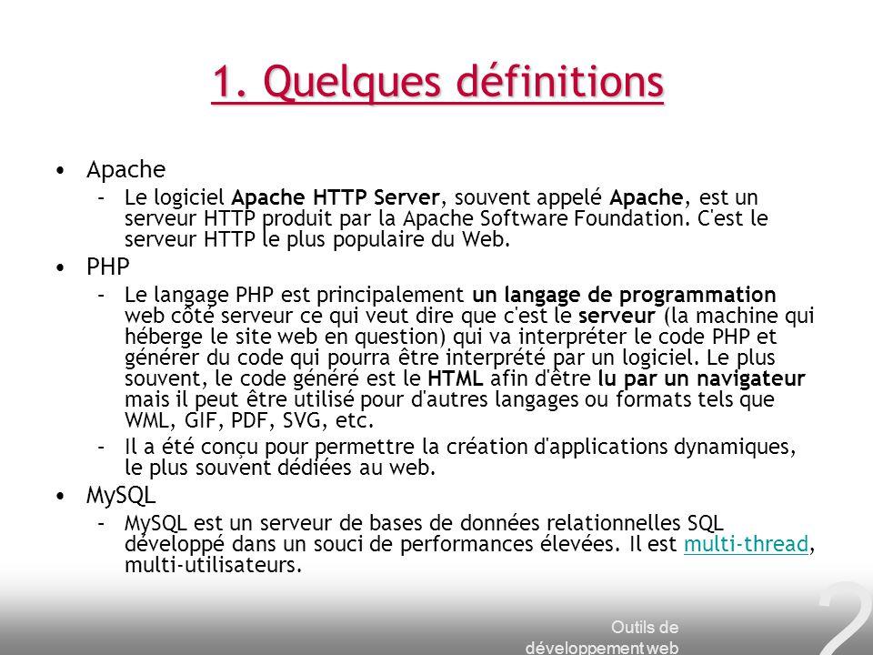 1. Quelques définitions Apache PHP MySQL